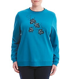 Breckenridge® Plus Size Stitched Leaves Fleece Sweater