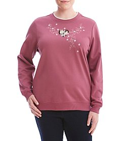 Breckenridge® Plus Size Floral Heart Sweater