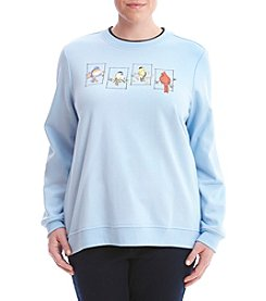 Breckenridge® Plus Size All Seasons Birds Fleece Sweater