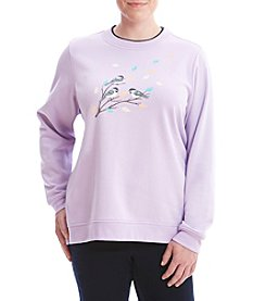 Breckenridge® Plus Size Breezy Birds Sweater