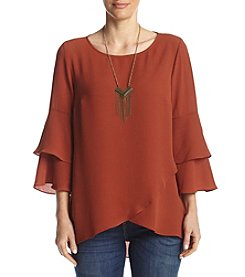 AGB® Tiered Sleeve Necklace Top