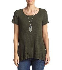 AGB® Knit Flared Hem Necklace Top