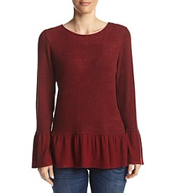 AGB® Ribbed Knit Ruffled Trim Top