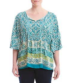 Oneworld® Plus Size Border Print Peasant Knit Top