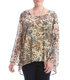 Oneworld® Plus Size Floral Printed Top