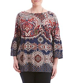 AGB® Plus Size Paisley Print Knit Top