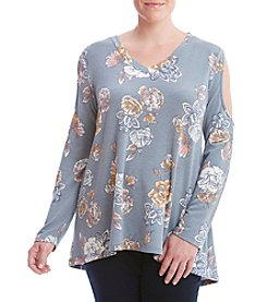 Bobeau® Plus Size Cold Shoulder Floral Top
