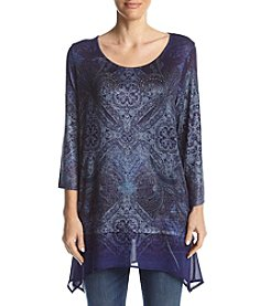 Oneworld® Sheer Hem Floral Top