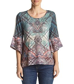 Oneworld® Printed Top With Crochet Accents