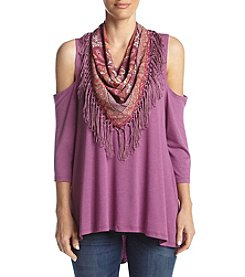 Oneworld® Cold Shoulder Top With Scarf
