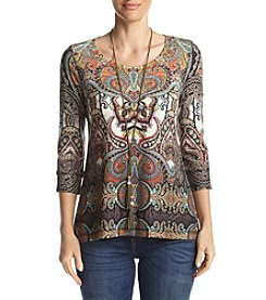 Oneworld® Printed Necklace Top