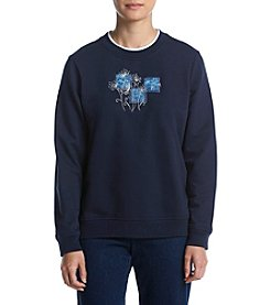 Breckenridge® Petites' Bluesy Dandelions Sweater