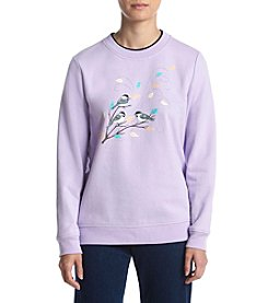 Breckenridge® Petites' Printed Breezy Birds Fleece Sweater