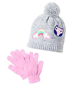 Miss Attitude Girls Twisted Knit Beanie With Patches