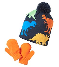 Statements Multi Dino Pom Hat & Mittens Set