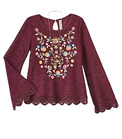 Beautees Girls' 7-16 Long Sleeve Lace Embroidered Top