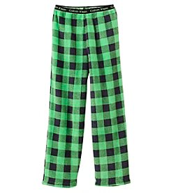 Calvin Klein Boys' 5-16 Plaid Fleece Pants