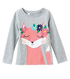 Carter's Girls' 4-8 Long Sleeve Flower Fox Top