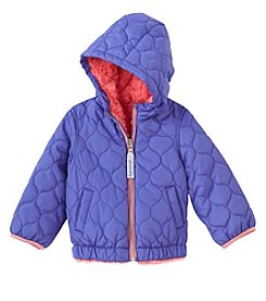London Fog® Baby Girls' Reversible Puffer Coat