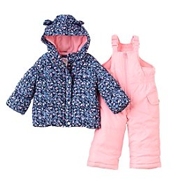 London Fog® Baby Girls' Floral Coat & Snowbib Pants