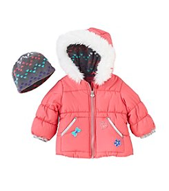 London Fog® Baby Girls' Patch Print Fleece Coat & Hat Set