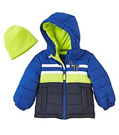 London Fog® Boys' 12M-7 Chest Striped Fleece Coat With Hat