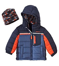 London Fog® Baby Boys' Crosshatch Colorblock Fleece Coat With Hat