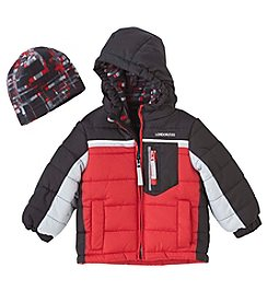 London Fog® Baby Boys' 12-24 Months Colorblock Coat With Fleece Hat