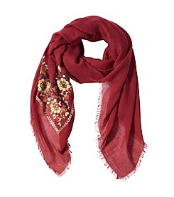 Collection 18 Embroidered Floral Square Scarf
