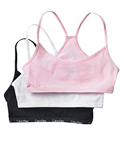 Calvin Klein Girls' 6-18 3 Pack Crop Bras