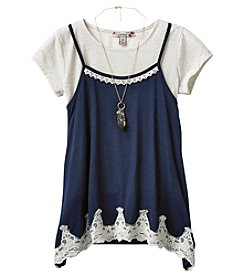 Speechless Girls' 7-16 2 Piece Tee With Lace Trim Cami