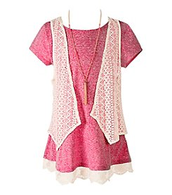 Speechless® Girls' 7-16 2 Piece Lace Tee With Cozy Vest