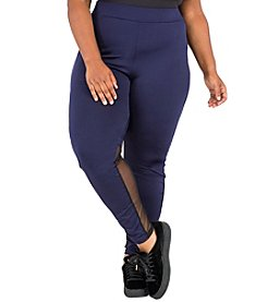Poetic Justice® Plus Size Rose Sheer Panel Leggings