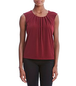 Kasper® Scoop Neck Pleated Tank