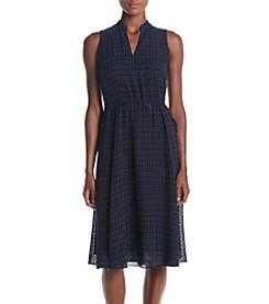Anne Klein® Printed Drawstring Midi Dress