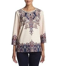 Alfred Dunner® Scroll Yoke Border Top