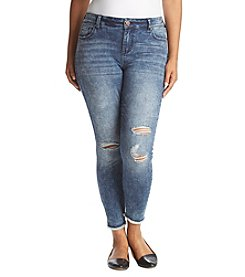 Celebrity Pink Plus Size Angelo Fray-Hem Ankle Jeans