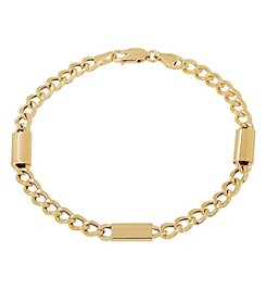 14K Yellow Gold Polished Curb Link Bracelet with Stations