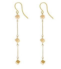 14K Yellow Gold Polished Dice On Box Dangle Earrings