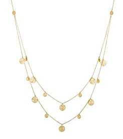 14K Yellow Gold Polished Diamond Cut Multi Strand Disk Necklace