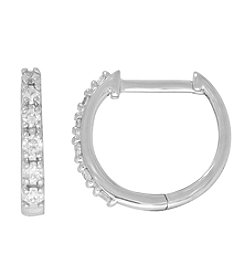 10K White Gold 0.25 ct. t.w. Diamond Hoop Earrings