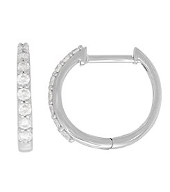10K White Gold 0.33 ct. t.w. Diamond Hoop Earrings