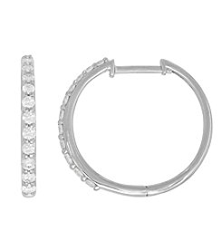 10K White Gold 0.50 ct. t.w. Diamond Hoop Earrings