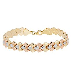 10K Two Tone Yellow and Rose Gold Polished Diamond Cut Checkered Link Bracelet