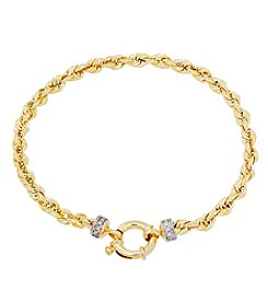 10K Yellow Gold Polished Diamond Cut Rope Twist Chain with Diamond Endcap Bracelet