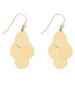 10K Yellow Gold Polished Cluster Teardrop Dangle Earrings