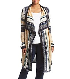 Oneworld® Plus Size Mixed Stripe Cardigan