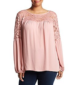 AGB® Plus Size Lace Yoke Top