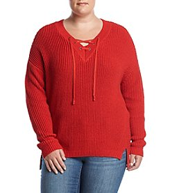 Ruff Hewn Plus Size Lace-Up Sweater