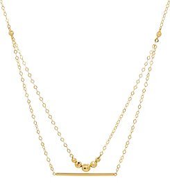 10K Yellow Gold Polished Double Strand Necklace with Beads and Bar